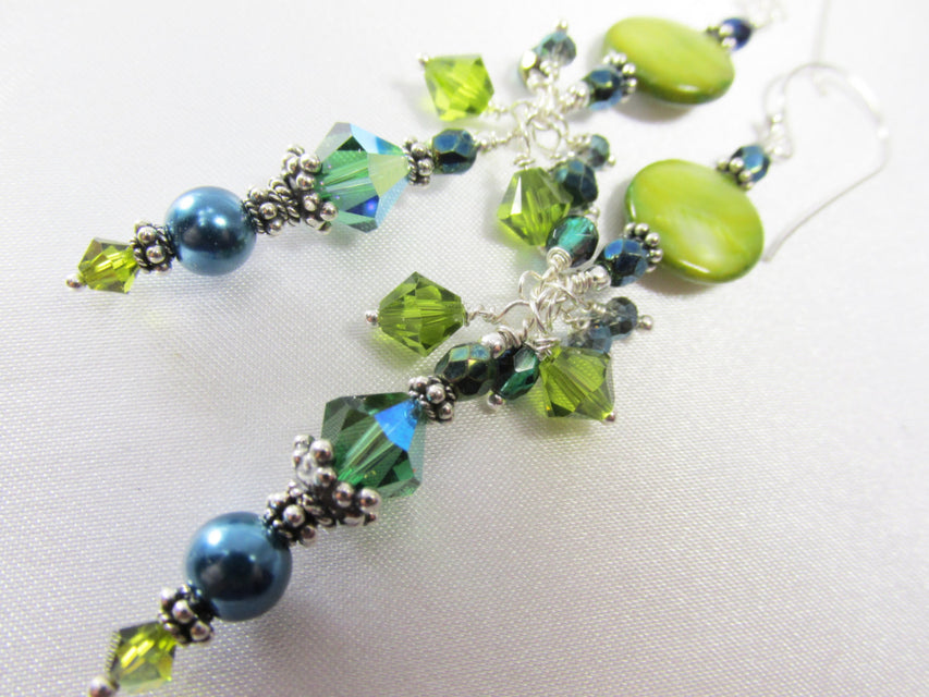 Teal and Green Long Earrings with Pearls and Rare Swarovski Tourmaline Crystals on Sterling Silver - Odyssey Creations