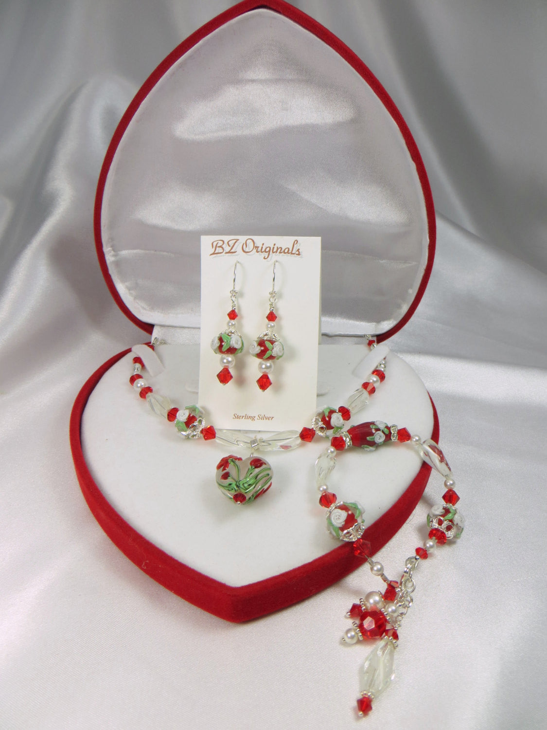 Red and White Lampwork Heart Necklace with Swarovski Crystals, Vintage Beads on Sterling Silver - Odyssey Creations