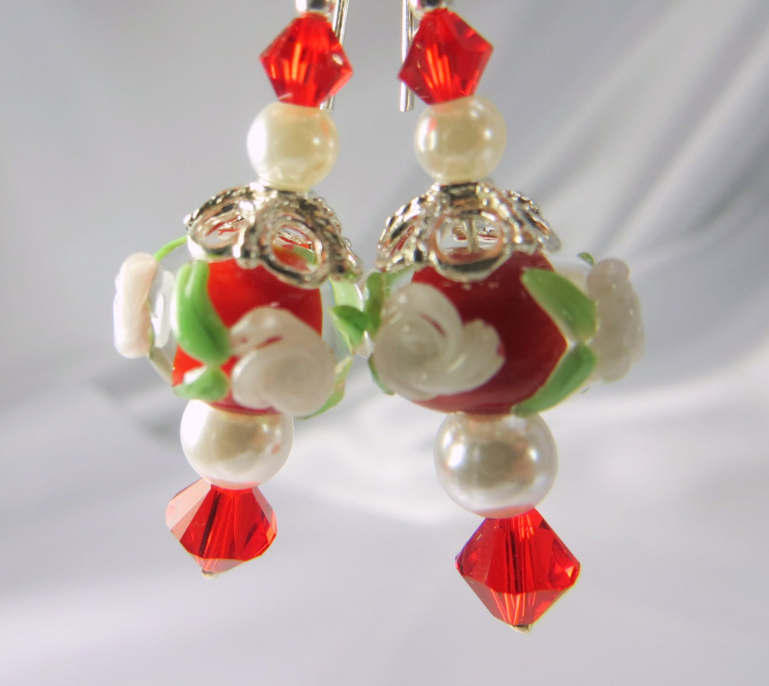 Red and White Lampwork Rondelle Earrings with Swarovski, Pearls on all Sterling Silver - Odyssey Creations