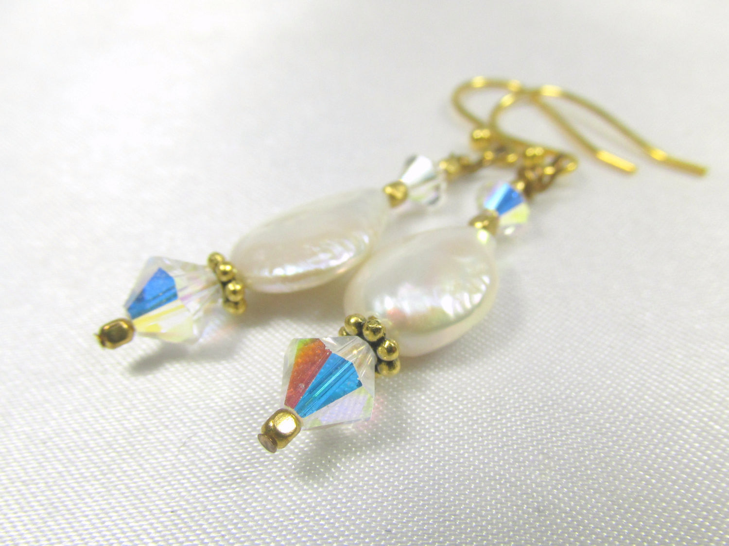 White Freshwater Pearl Coins with Swarovski Crystal AB Earrings on 14k Gold Fill - Odyssey Creations