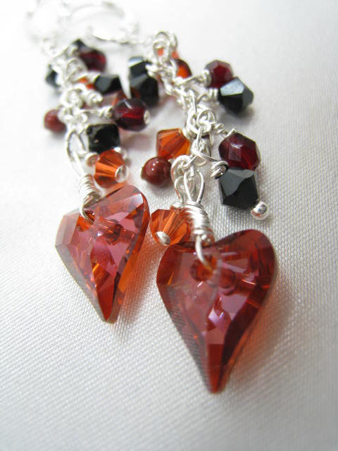 Swarovski Wild Heart Earrings in Red Magma and Black on Sterling Silver - Odyssey Creations