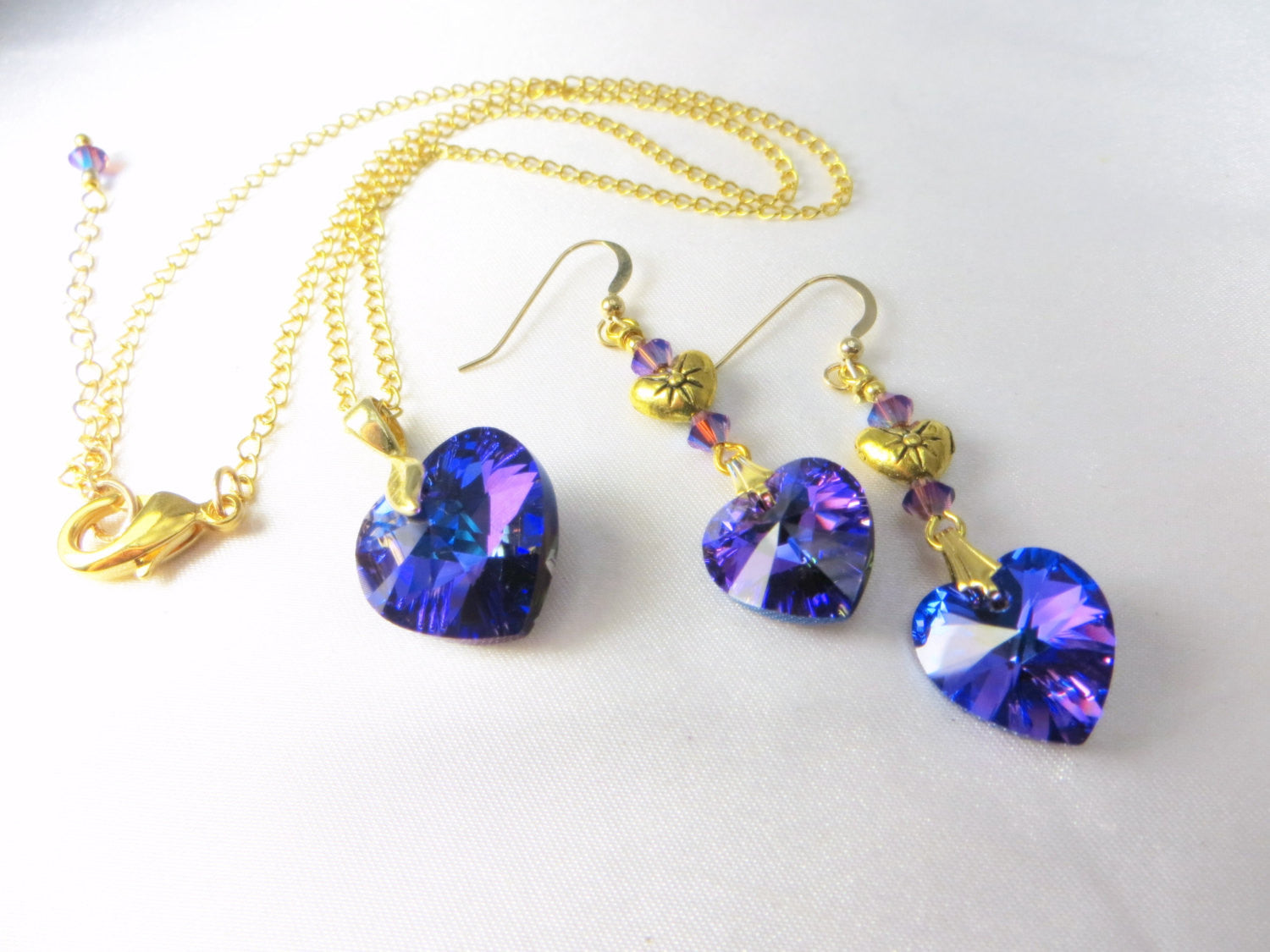 Swarovski Heart Necklace in Heliotrope Purple and Blue with 14k Gold Fill Chain - Odyssey Creations