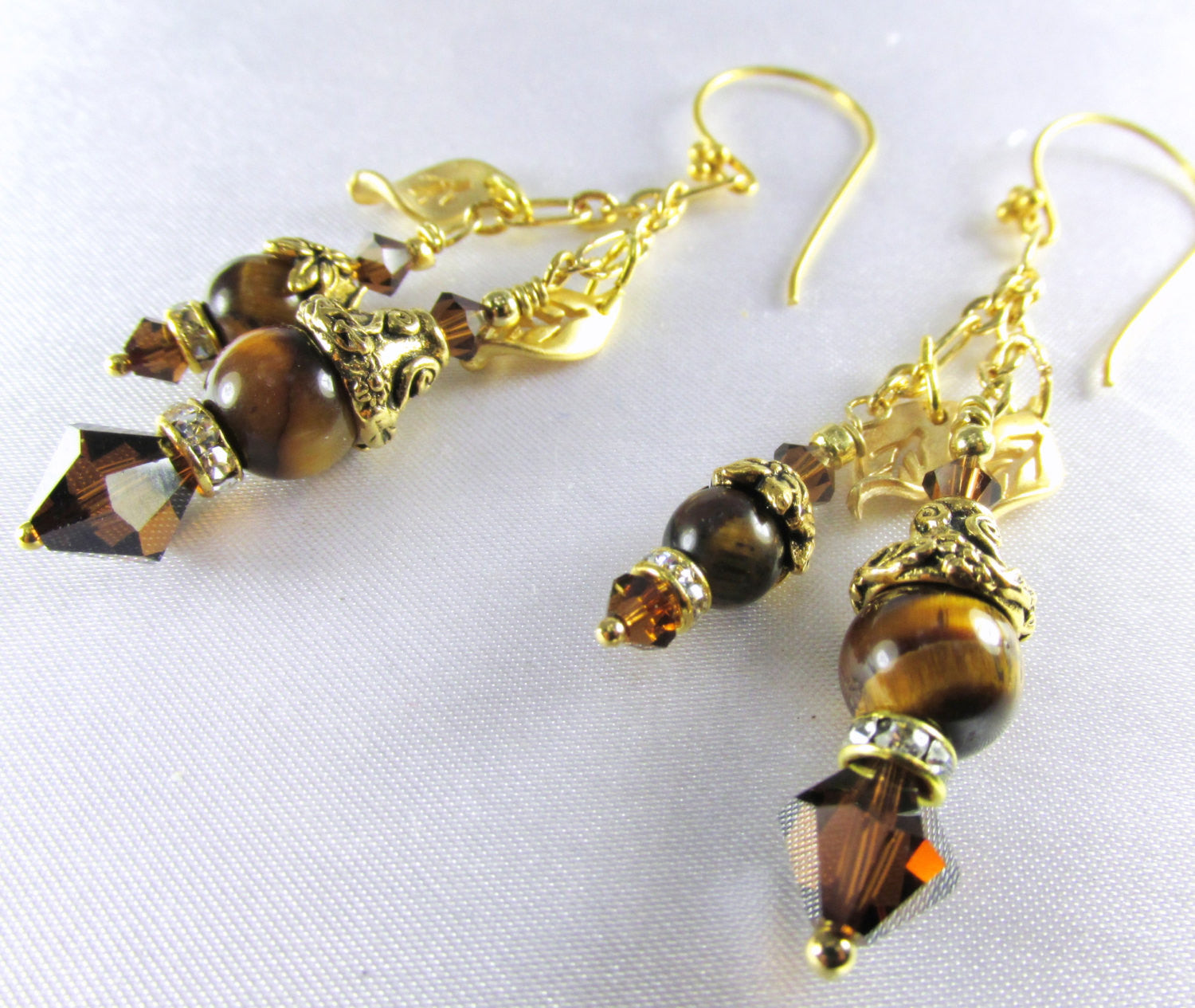 Brown Tigers Eye and Gold Double Dangle Earrings with matching necklace and bracelet available - Odyssey Creations