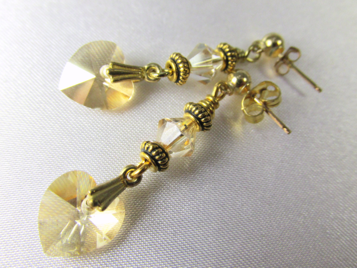Swarovski Heart Earrings in Light Topaz with 14k Gold Fill Posts - Odyssey Creations