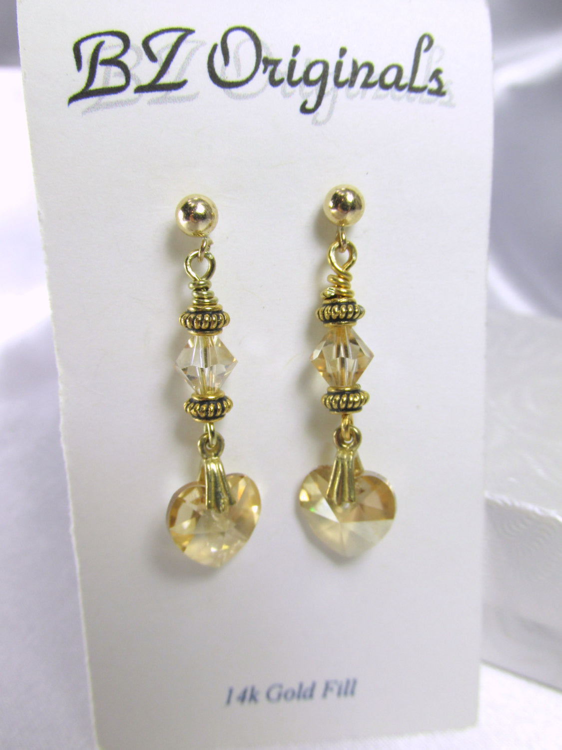 Swarovski Gold Heart Earrings in Light Colorado Topaz with 14k Gold Fill Posts - Odyssey Creations