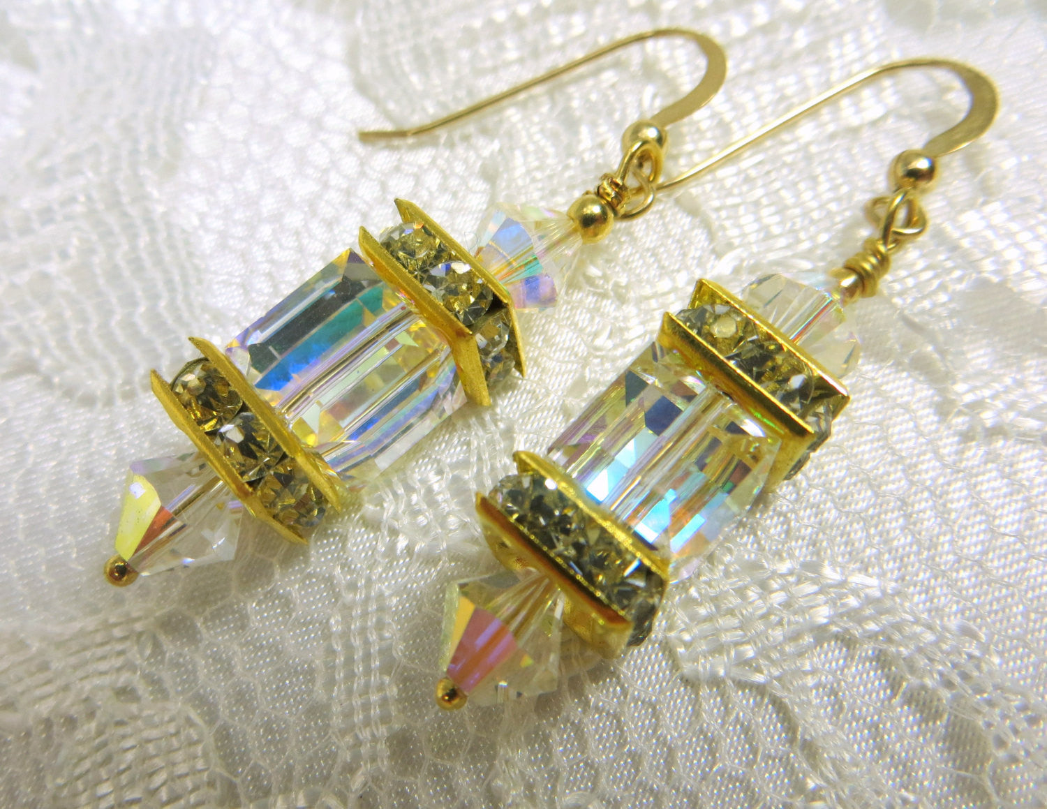 Swarovski Cube Earrings in Crystal AB on 22k Bali Gold Earring Wires - Odyssey Creations