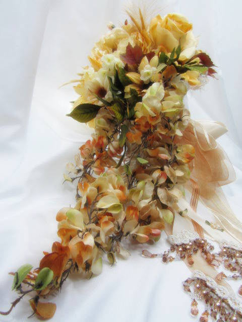 Victorian Cascading Bridal Bouquet in Light Gold and Pale Rust - Odyssey Creations