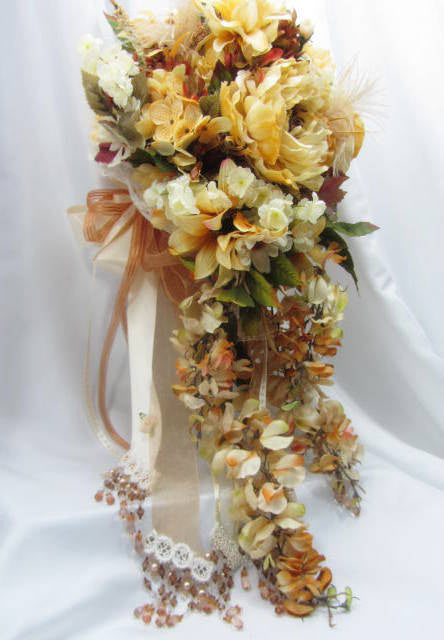 Victorian Cascading Bridal Bouquet in Autumn Light Golden Yellow and Pale Rust with pearls, beaded fringe, lace - Odyssey Creations