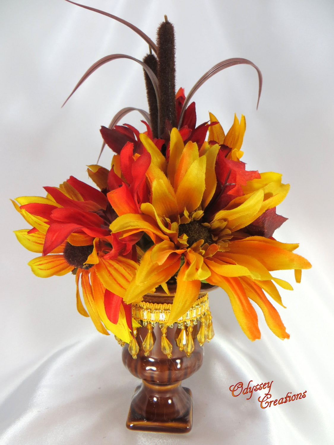 Small Desktop Autumn or Fall Flor Arrangement in Warm Red, Orange and Gold Tones - Odyssey Creations