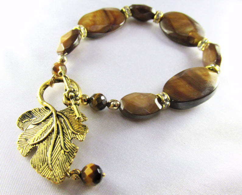 Brown and Gold Bracelet in Tigers Eye Semiprecious Stones with Leaf Toggle Clasp - Odyssey Creations