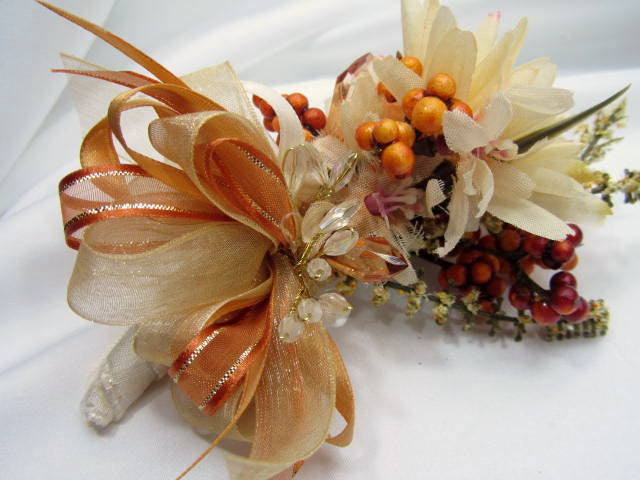 Wedding Boutonniere in Autumn Light Golden Yellow and Pale Rust with beaded accents - Odyssey Creations