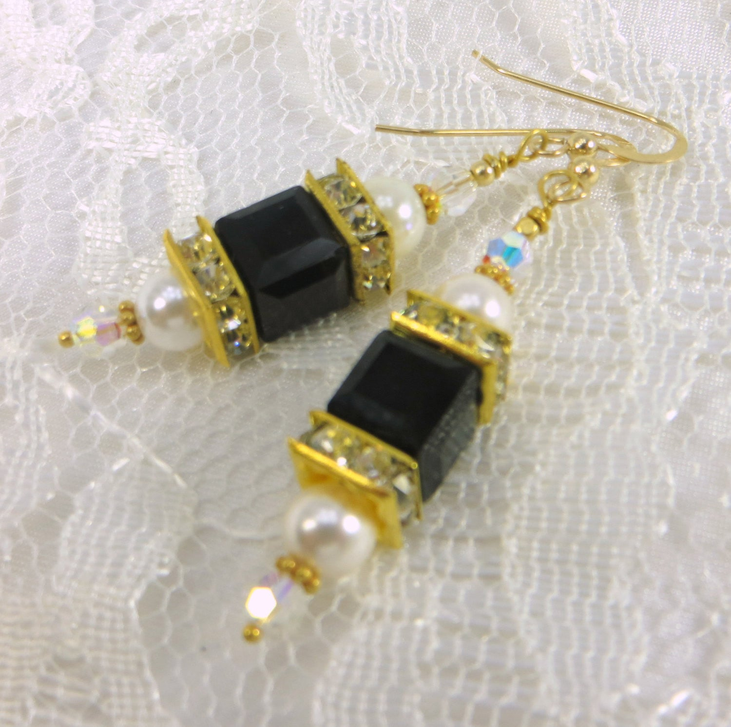 Swarovski Cube Lantern Earrings in Black and White Pearl on 22k Bali Gold Earring Wires - Odyssey Creations