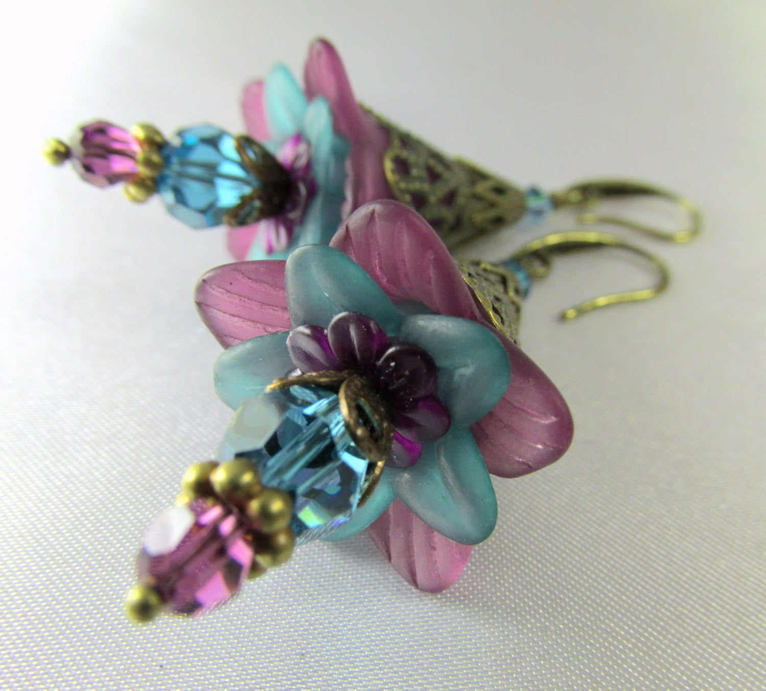 Lily Flower Earrings in Plum Purple and Turquoise Tealwith Swarovski Crystals and glass teardrops on Brass - Odyssey Creations
