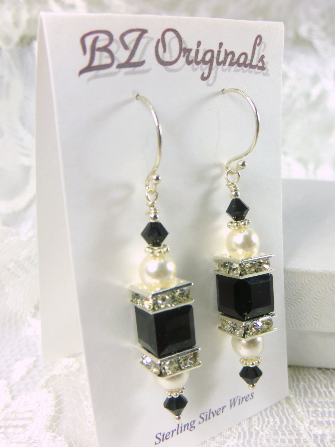 Swarovski Cube Earrings in Black and White Pearl on Bali Sterling Silver Earring Wires - Odyssey Creations