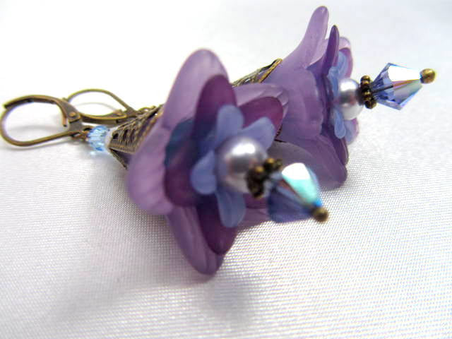Lily Flower Earrings in Violet Purple with Swarovski Crystals and glass teardrops on Brass - Odyssey Creations