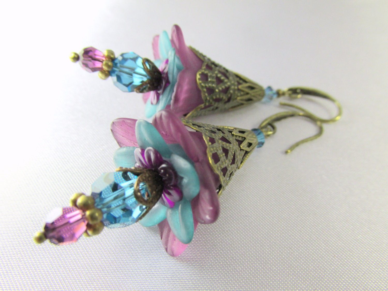 Lily Flower Earrings in Plum Purple and Turquoise Teal Swarovski on Antique Brass - Odyssey Creations