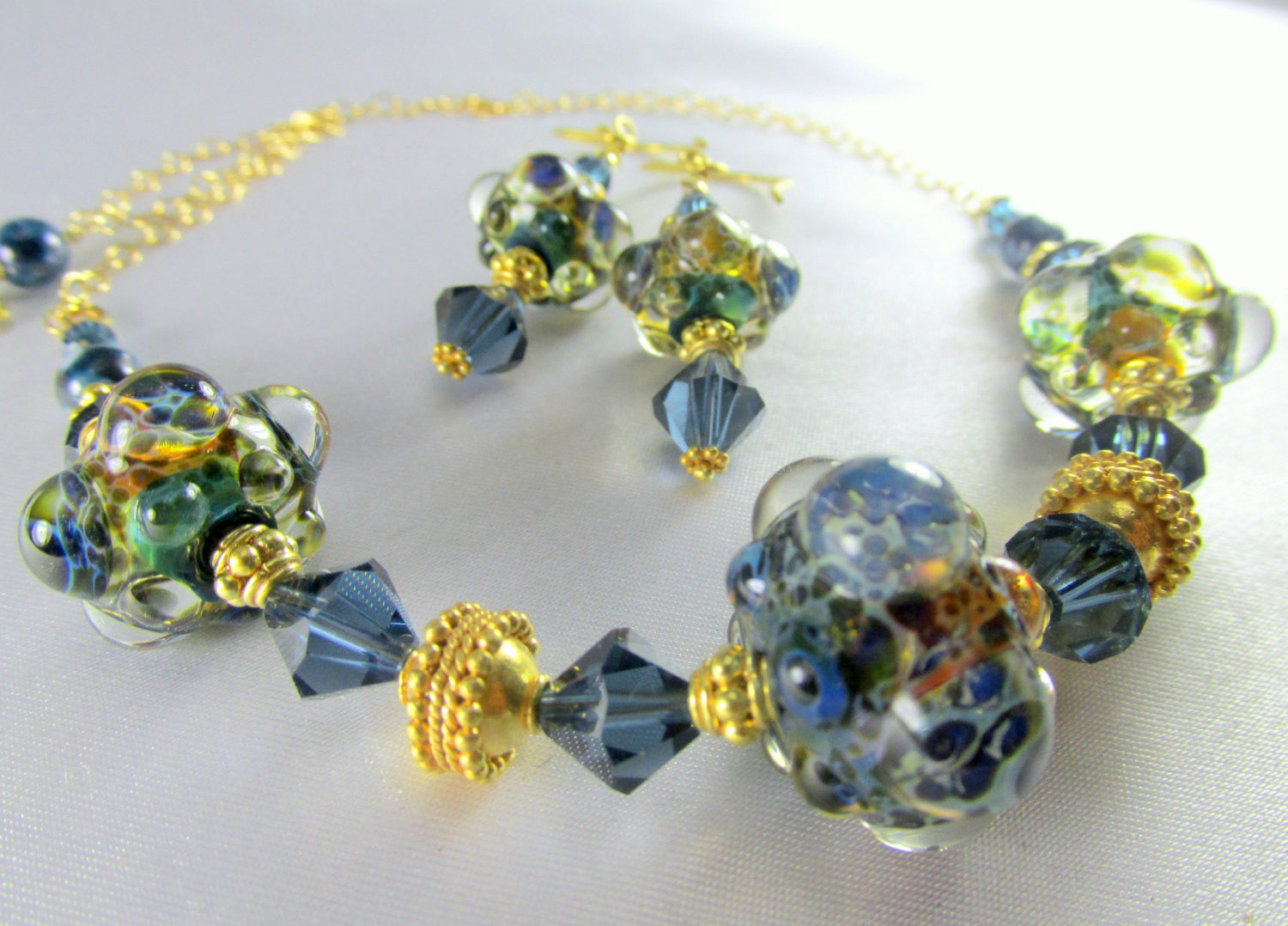 Lampwork Necklace and Earring Set in Denim Blue Sapphire Swarovsk and 22k Gold Vermeil - Odyssey Creations
