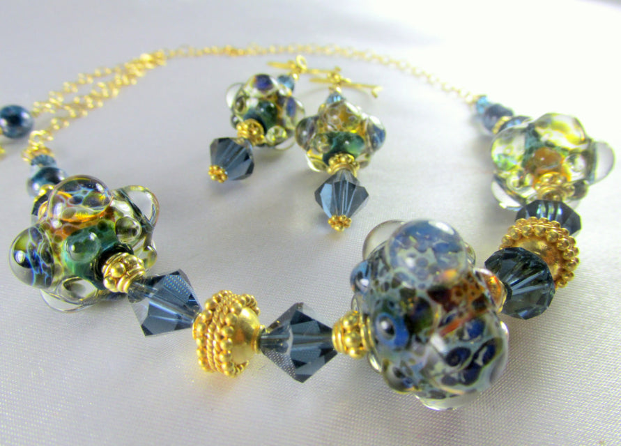 22k Gold Vermeil Lampwork Necklace and Earring Set in Denim Blue Sapphire Swarovski - Odyssey Creations