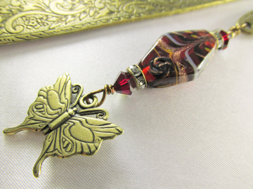 Brass Butterfly Beaded Bookmark in arsala Dark Red Lampwork Glass - Odyssey Creations