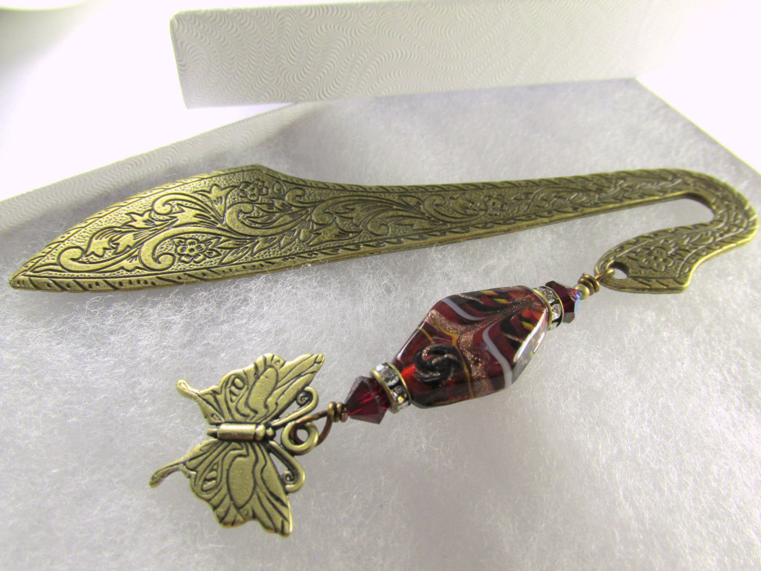 Brass Butterfly Beaded Bookmark in Marsala Dark Red Lampwork Glass - Odyssey Creations
