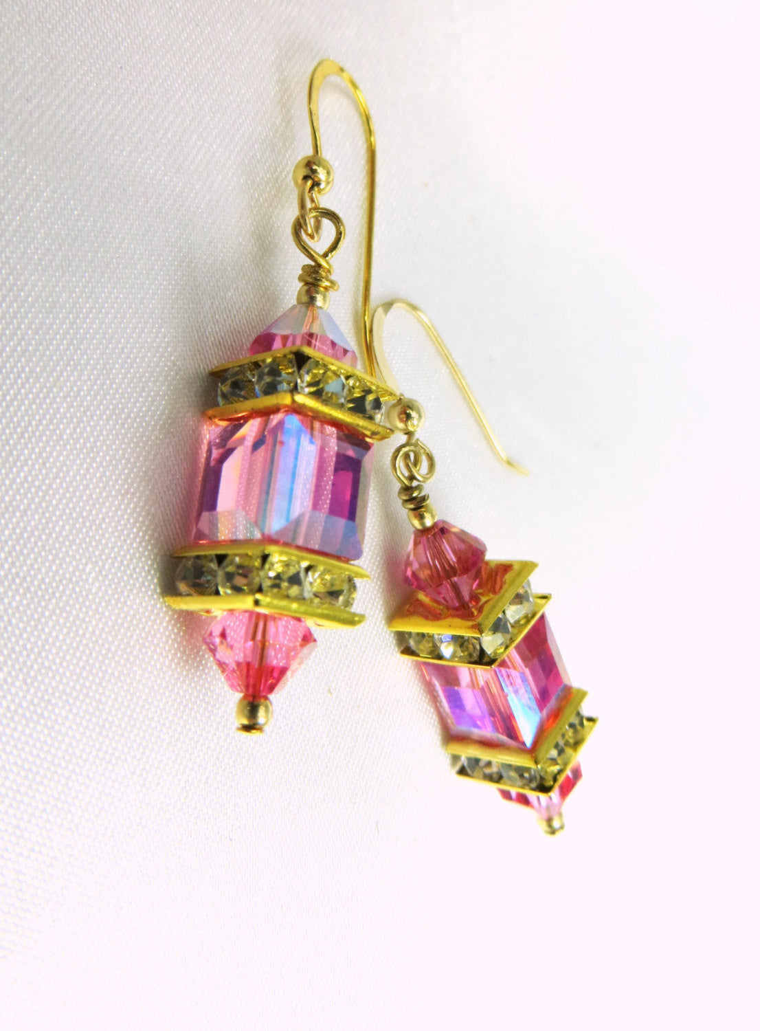 Swarovski Cube Pink Rose AB aurora borealis Earrings on 14k Gold Fill - Odyssey Creations