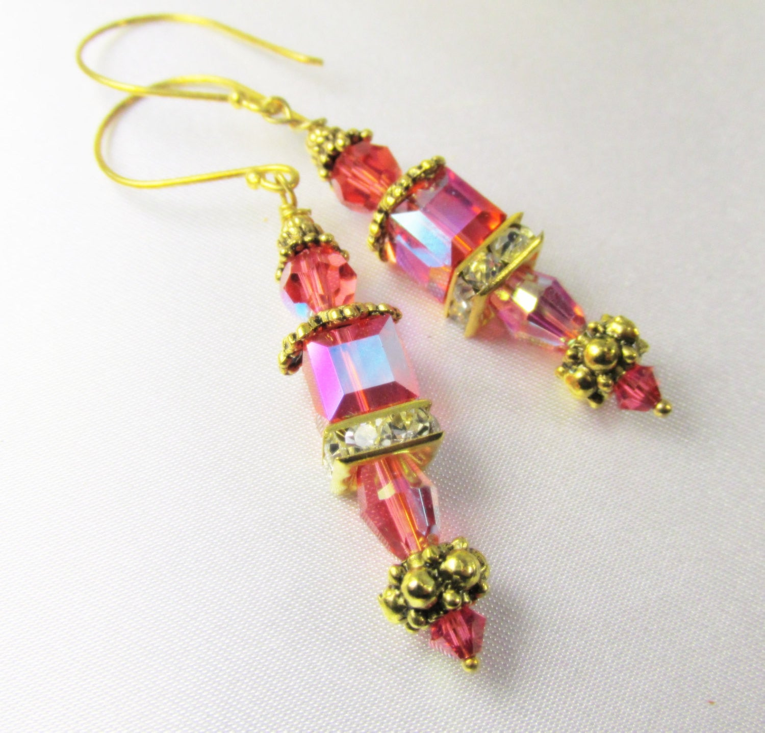 Swarovski Cube Coral Padparadsha AB aurora borealis Earrings on 22k Gold Vermeil Bali wires - Odyssey Creations