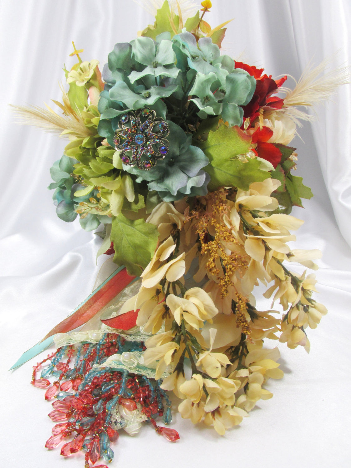 Bridal Cascading Brooch Bouquet and Boutonniere Set for Autumn or Fall in Burnt Orange, Aqua  and Light Gold - Odyssey Creations