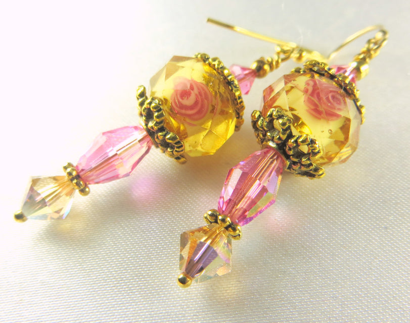 Gold and Pink Multi Rose Lampwork Glass and Swarovski crystals on Antique Gold  Earrings - Odyssey Creations