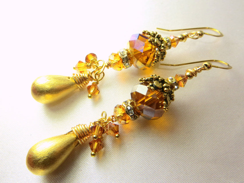 Swarovski Crystal Copper Large Rondelles with 22k plated Brushed Gold Drops on14k Gold Fill Earring wires and extra dangles - Odyssey Creations