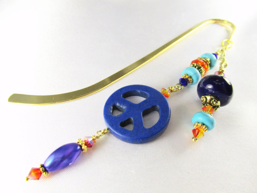 Peace Beaded Bookmark in Blue Lapis, Turquoise Magnesite, and Orange Crystals, Gold metal - Odyssey Creations