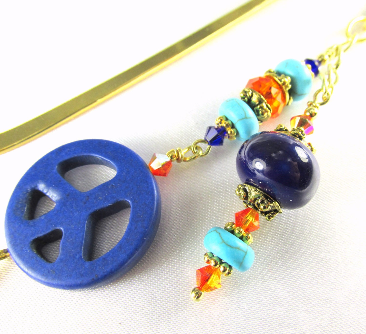 Blue Lapis, Turquoise and Orange Peace Sign Beaded Bookmark - Odyssey Creations