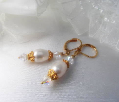 White Swarovski Pearl Teardrop and 22k Gold Vermeil Bridal Earrings on 14k gold fill leverbacks - Odyssey Creations