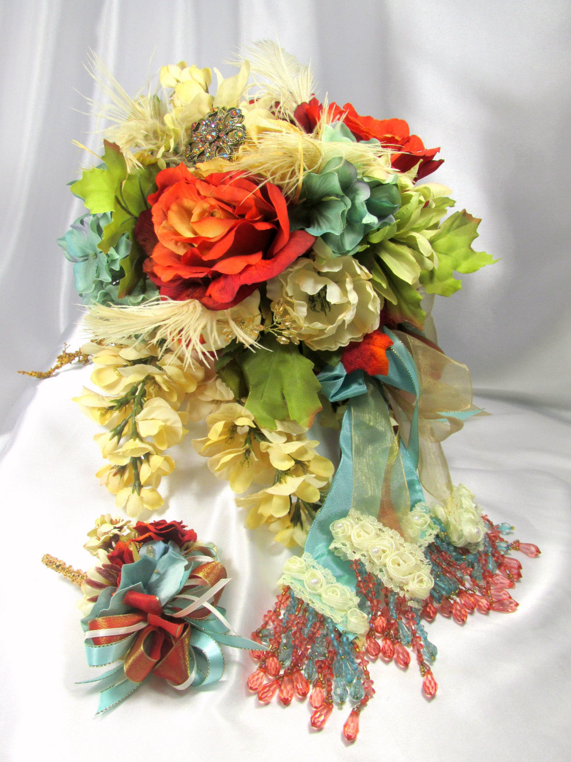Cascading Bridal Brooch Bouquet and Boutonniere Set in Autumn Seafoam, Rust and Gold - Odyssey Creations