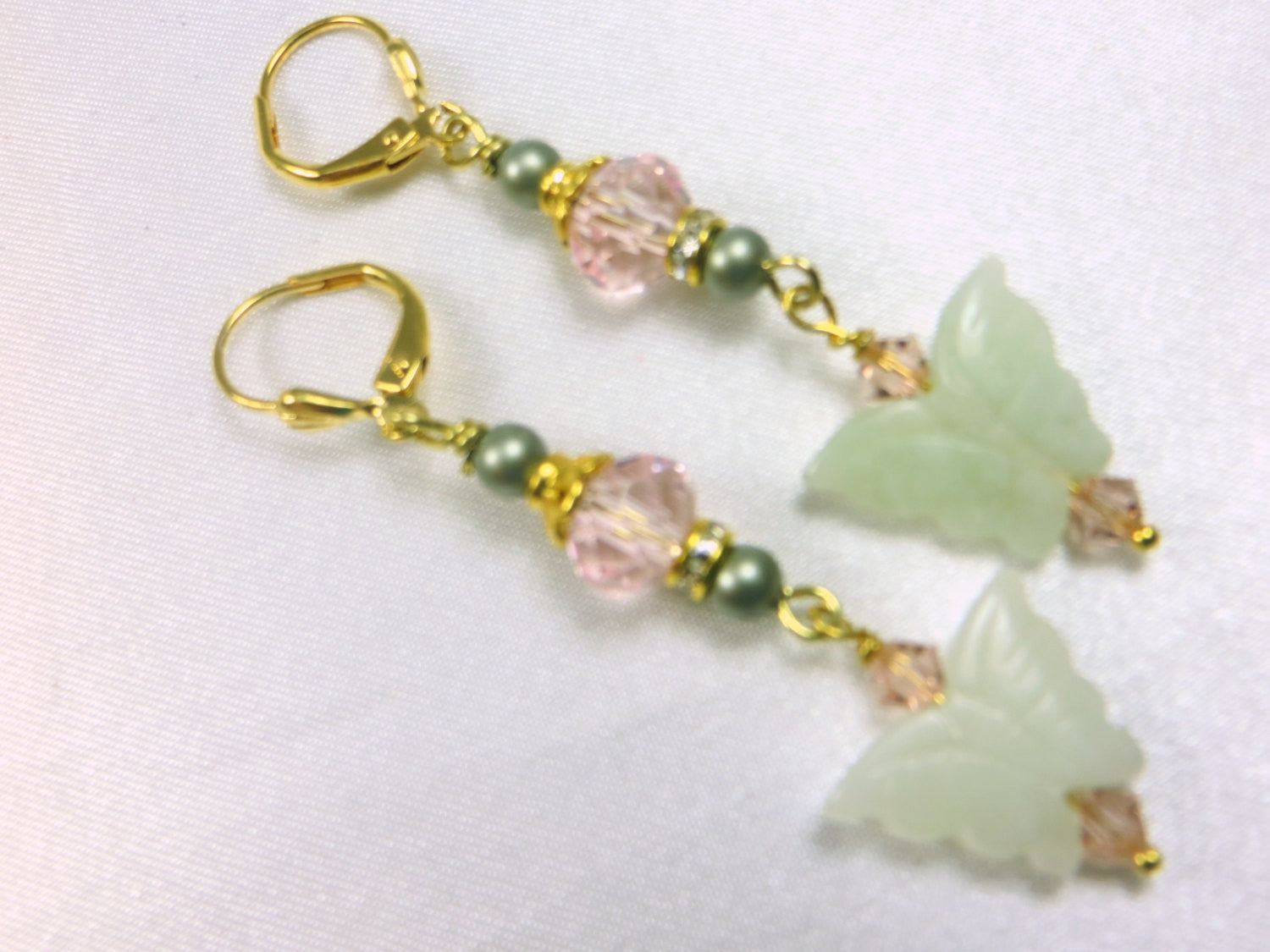 Pale Green Jade Butterflies, Antique Pink Crystals and Swarovski Powder Green Pearls on Gold  - Bridal or Everyday Earrings - Odyssey Creations