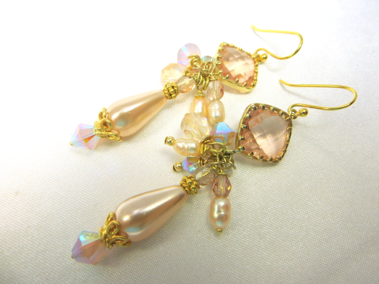 Gold Peach Pearl Earrings with Gold Wrapped Quartz Crystal - Odyssey Creations
