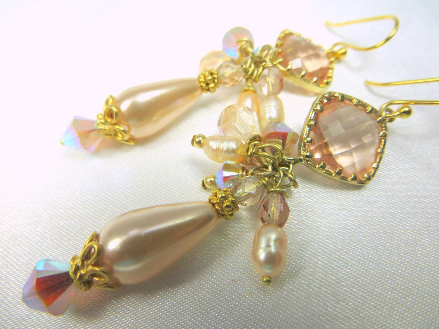 Champagne Peach Pearl Earrings with 22k wrapped Crystal Quarter on 14k Gold Fill Leverbacks  - Bridal or Everyday Earrings - Odyssey Creations