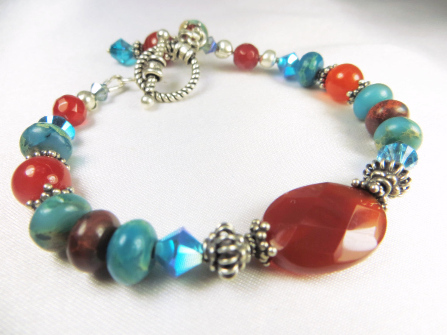 Carnelian Faceted Stone and Turquoise Bracelet with all Sterling Silver metal findings - Odyssey Creations