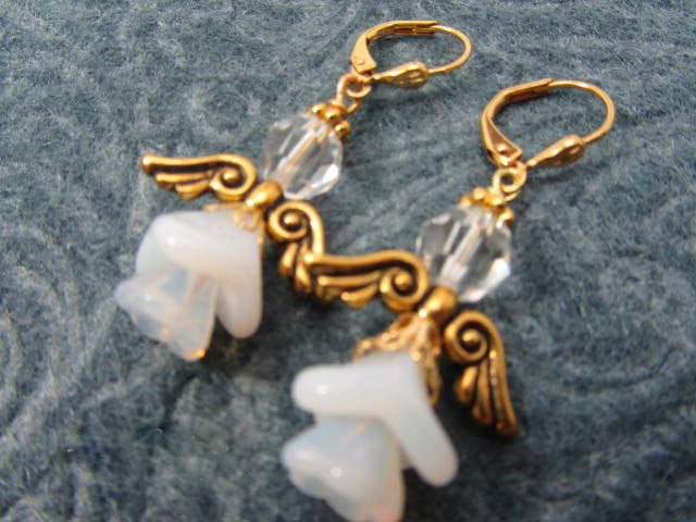 Angel Earrings in Gold and White with Swarovski Crystal - Odyssey Creations