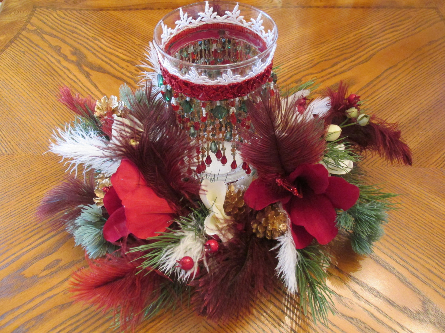 Christmas Holiday Centerpiece Set with Beaded Hurricane Candle Holder - Odyssey Creations