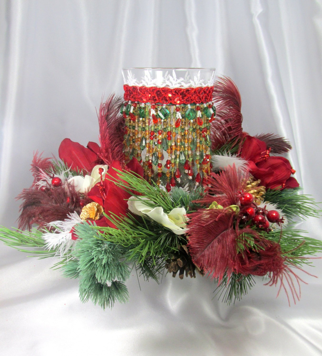 Christmas Holiday Centerpiece Set With Beaded Hurricane Candle Holder Odyssey Creations