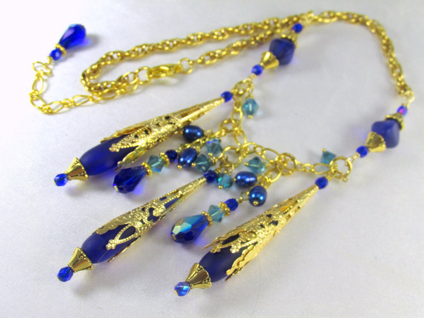 Sea Glass Royal Blue Teardrop Statement Necklace in Gold - Odyssey Creations