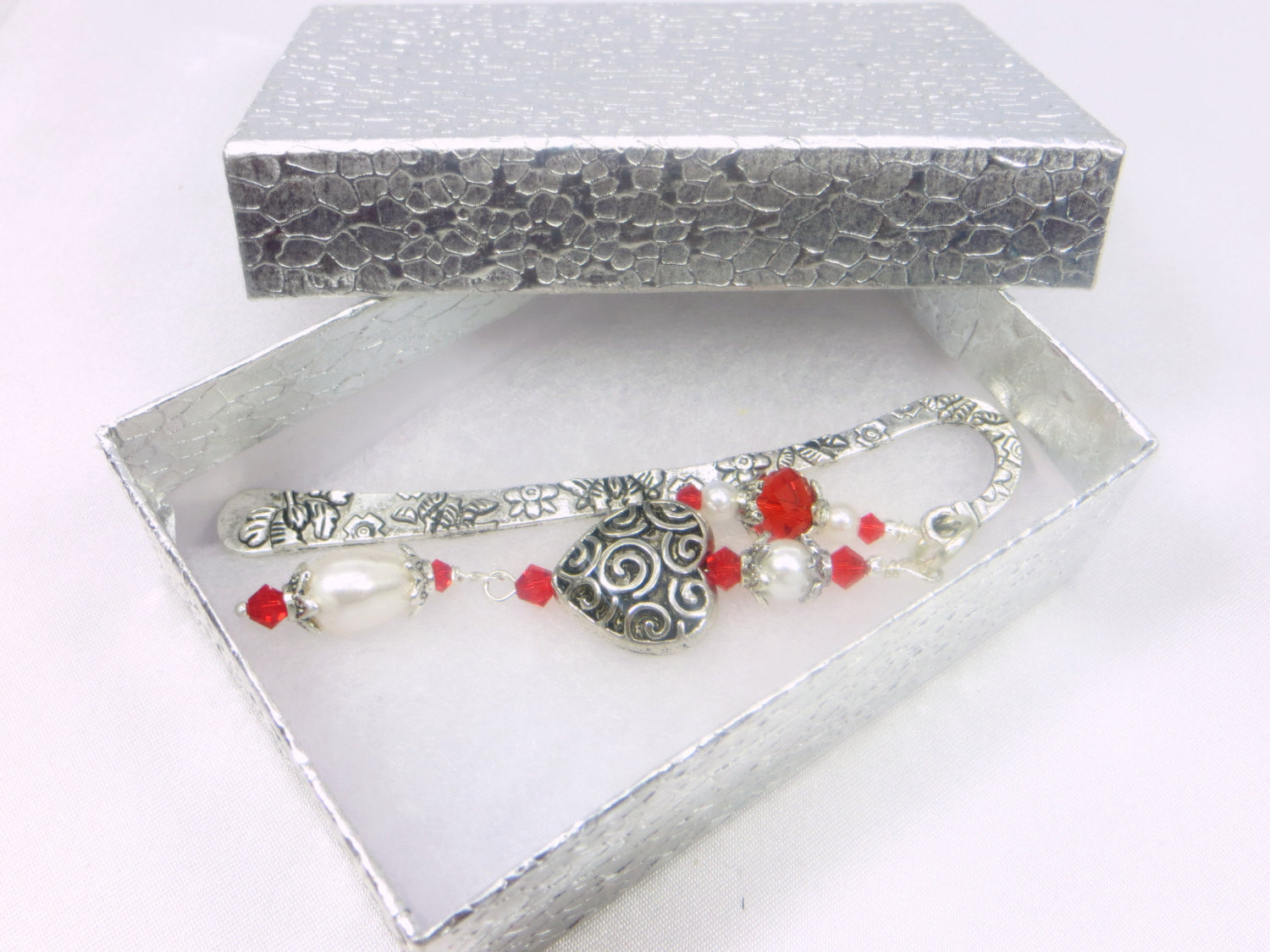 Small  Beaded Bookmark in Red and White Pearl and Antique Silver Heart - Odyssey Creations