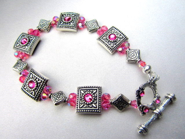 Pink Swarovski and Antique Silver Swarovski Crystal Beaded Bracelet - Odyssey Creations