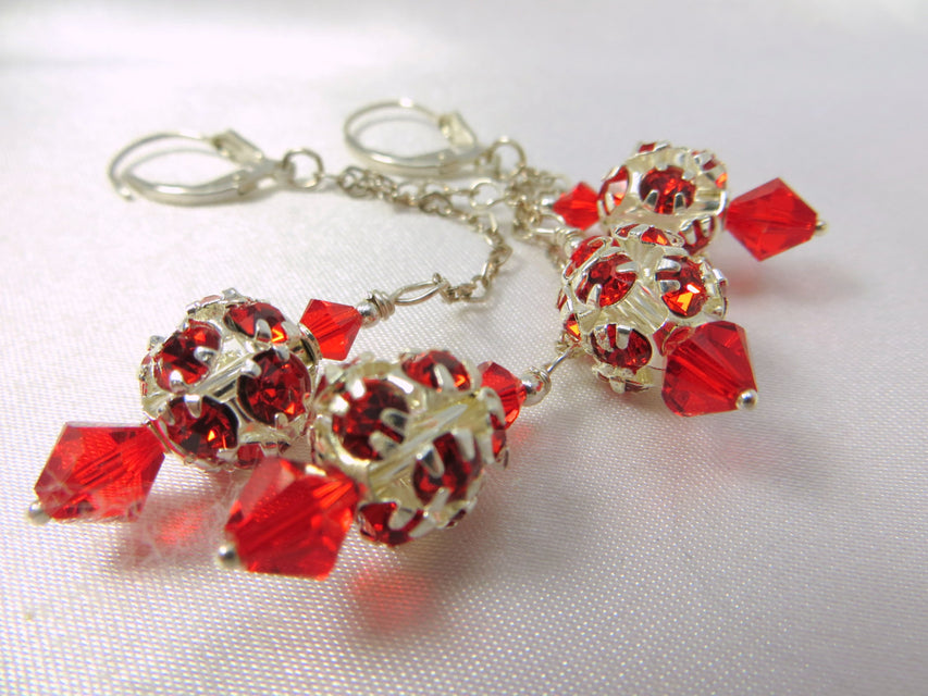 Dazzle Ball Red Swarovski on Heart Links Sterling Silver Chain - Odyssey Creations