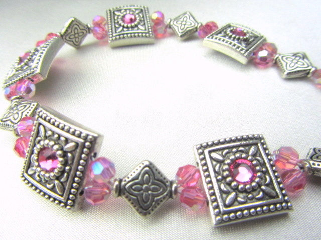 Pink Swarovski and Antique Silver Swarovski Set Beaded Bracelet - Odyssey Creations