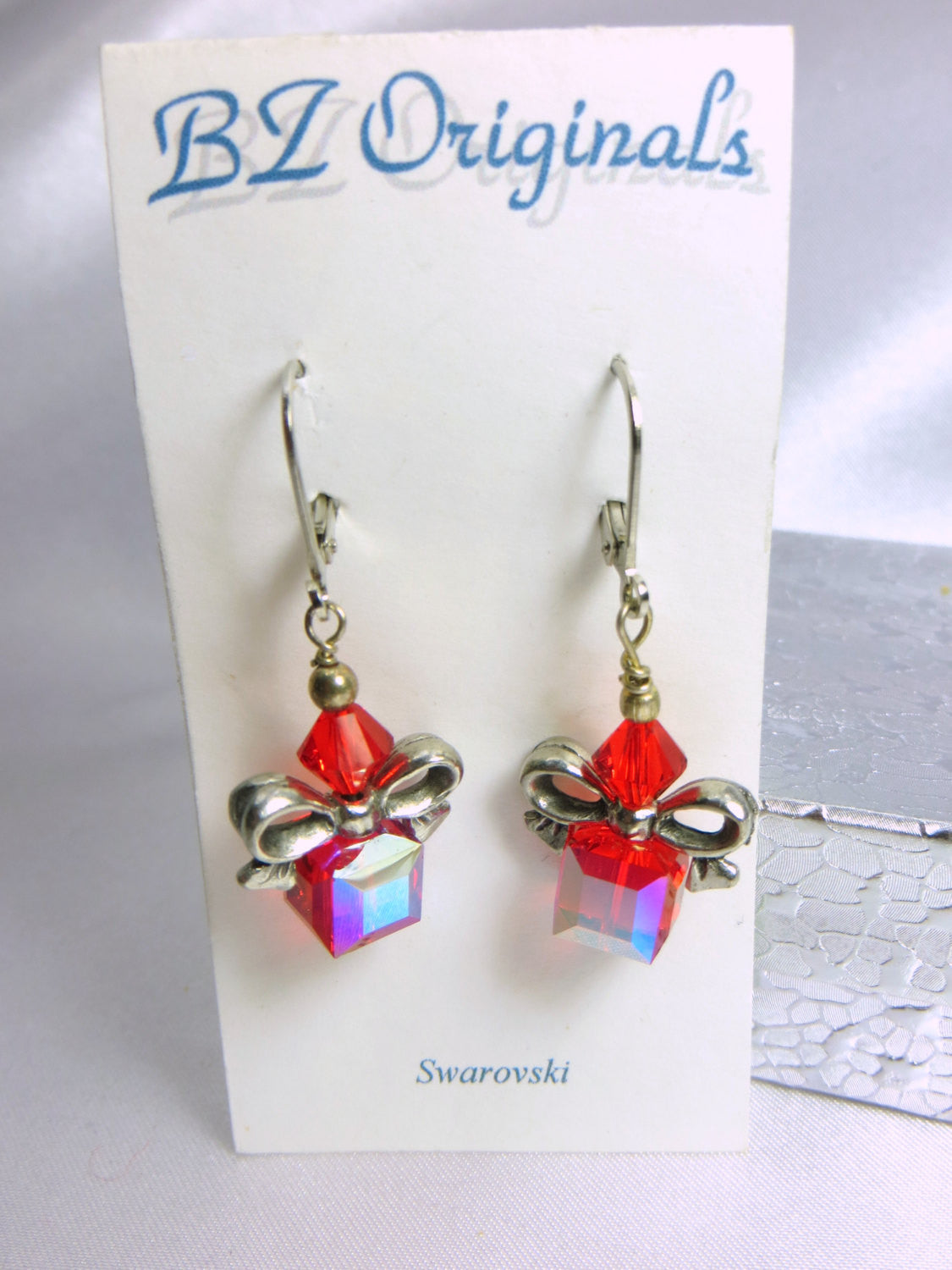 Red Siam AB Cube Christmas Holiday Present earrings in Silver or Gold - Odyssey Creations