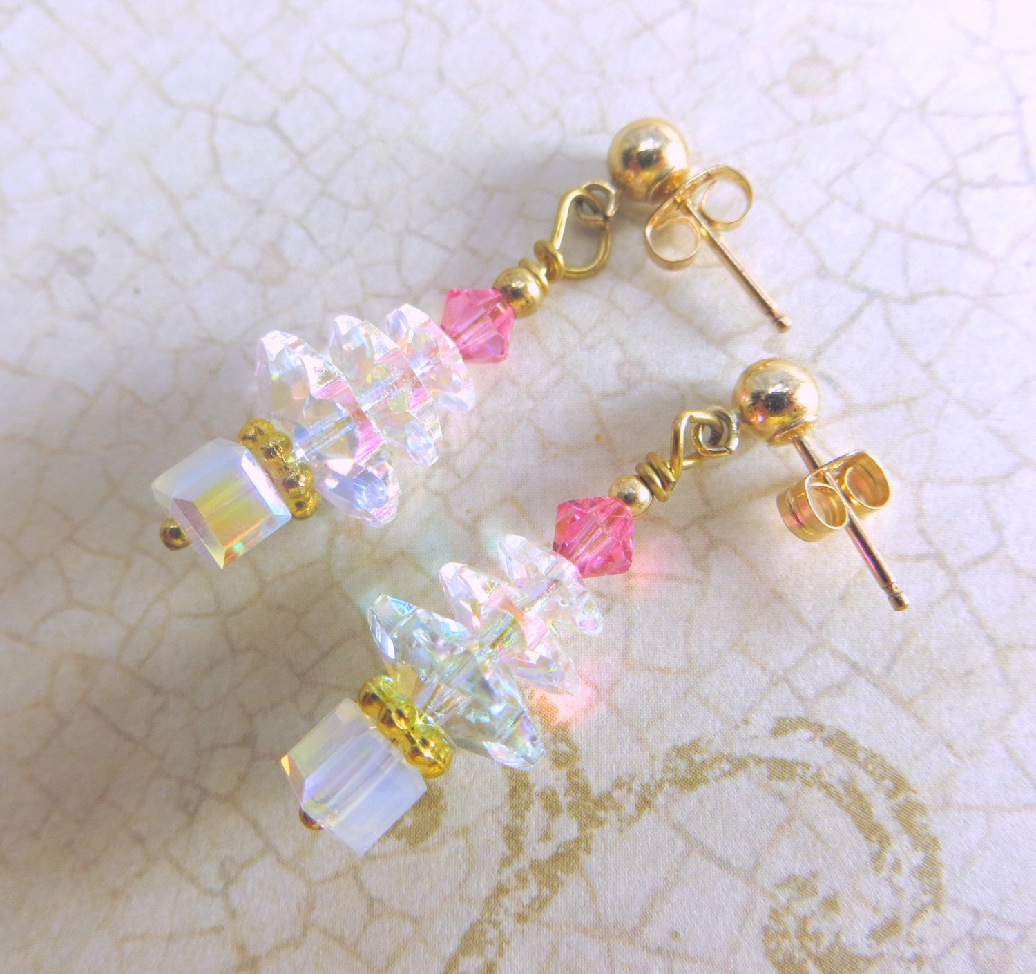 Christmas Tree Earrings in Swarovski Crystal AB and Pink ...