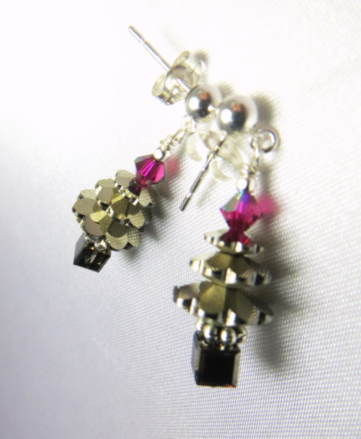 Christmas Tree Earrings in Swarovski Metallic Silver Night on Sterling Silver Posts - Odyssey Creations