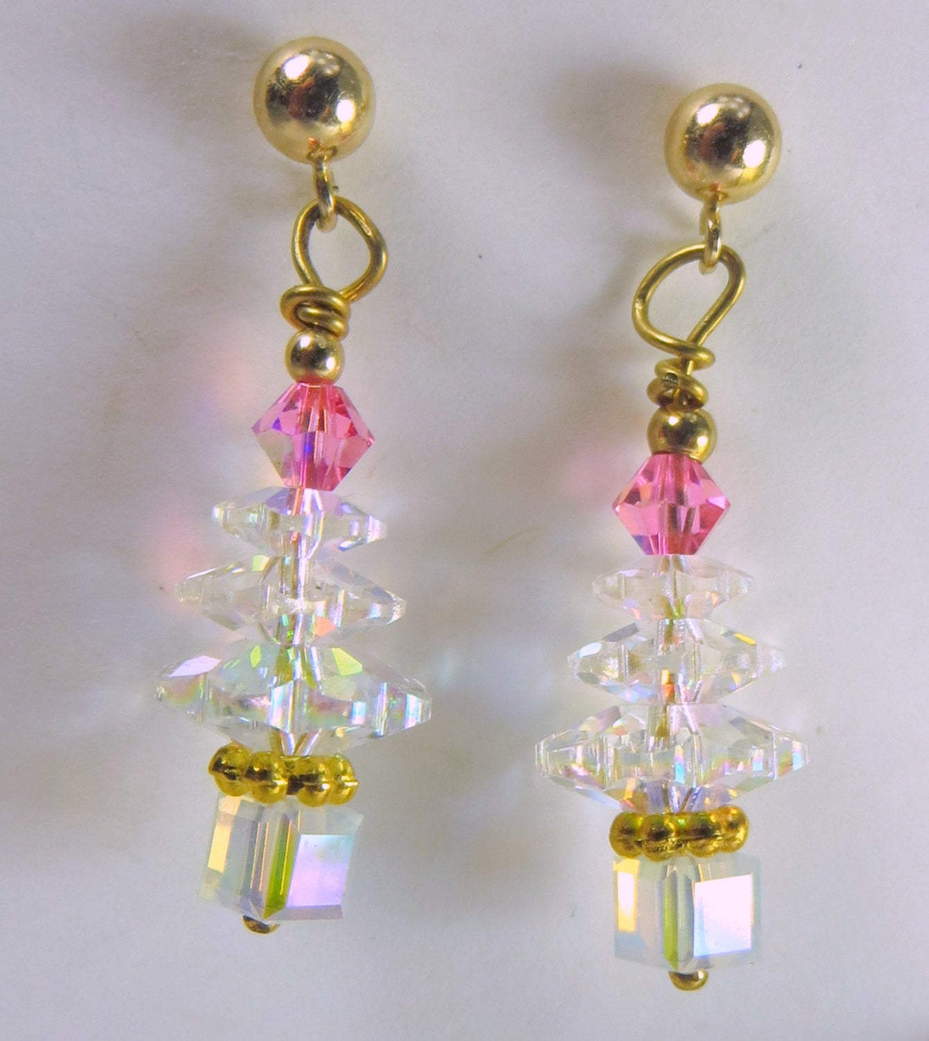 Christmas Tree Earrings in Swarovski Crystal AB and Pink on 14k gold fill posts - Odyssey Creations