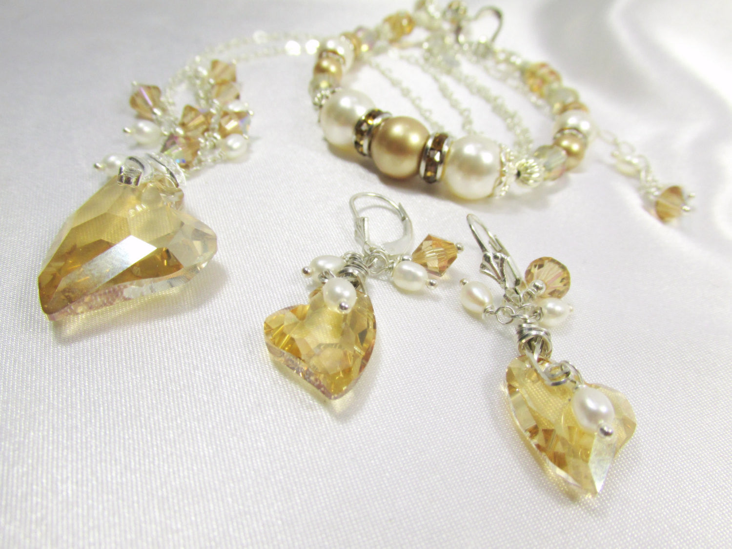 Golden Shadow Swarovski Heart Earrings with White Freshwater Pearls - Odyssey Creations